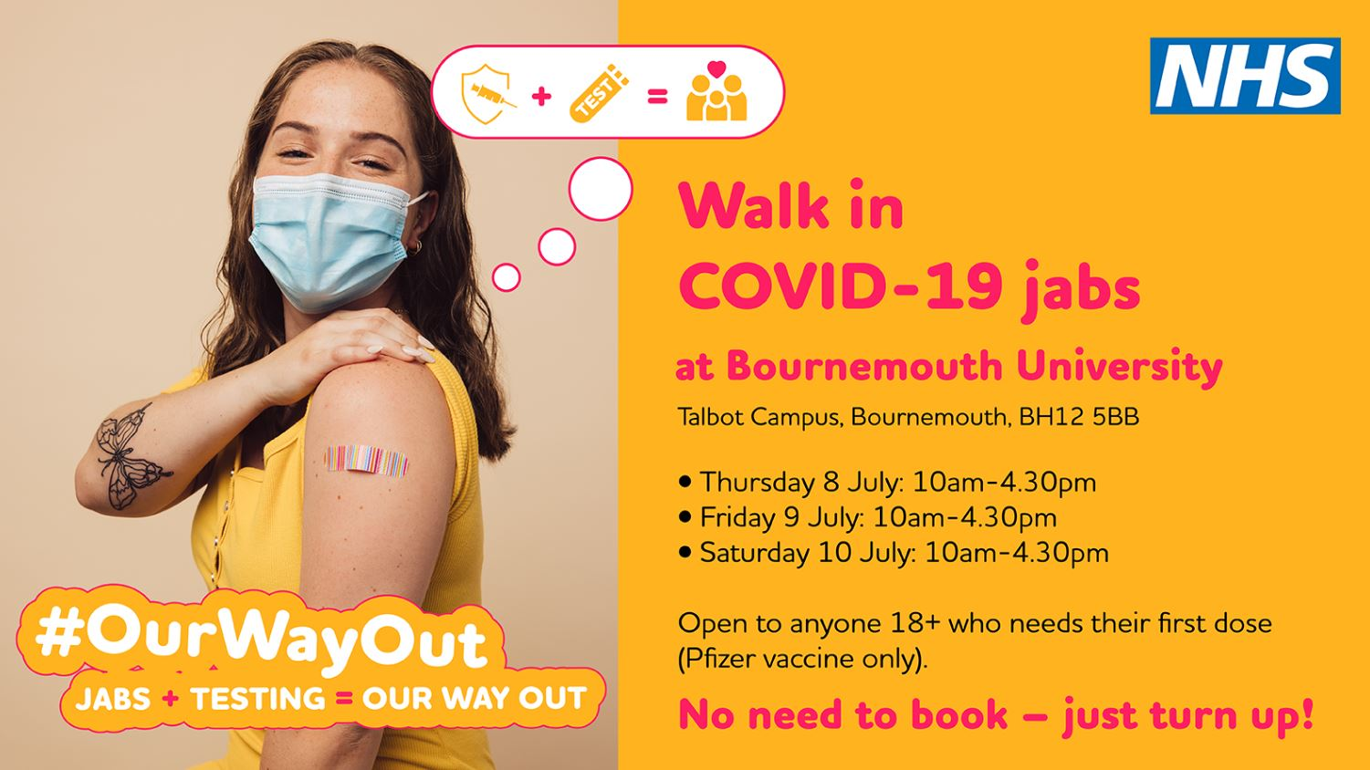 <p>If you still need your first dose of the COVID-19 vaccine you can 'grab a jab' at a number of walk-in clinics across Dorset this Saturday (10 July).</p>